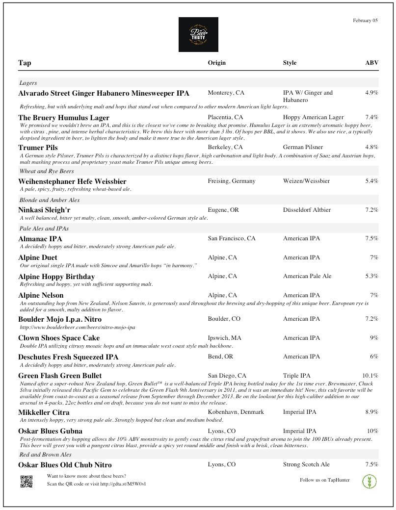 taphunter beer menu