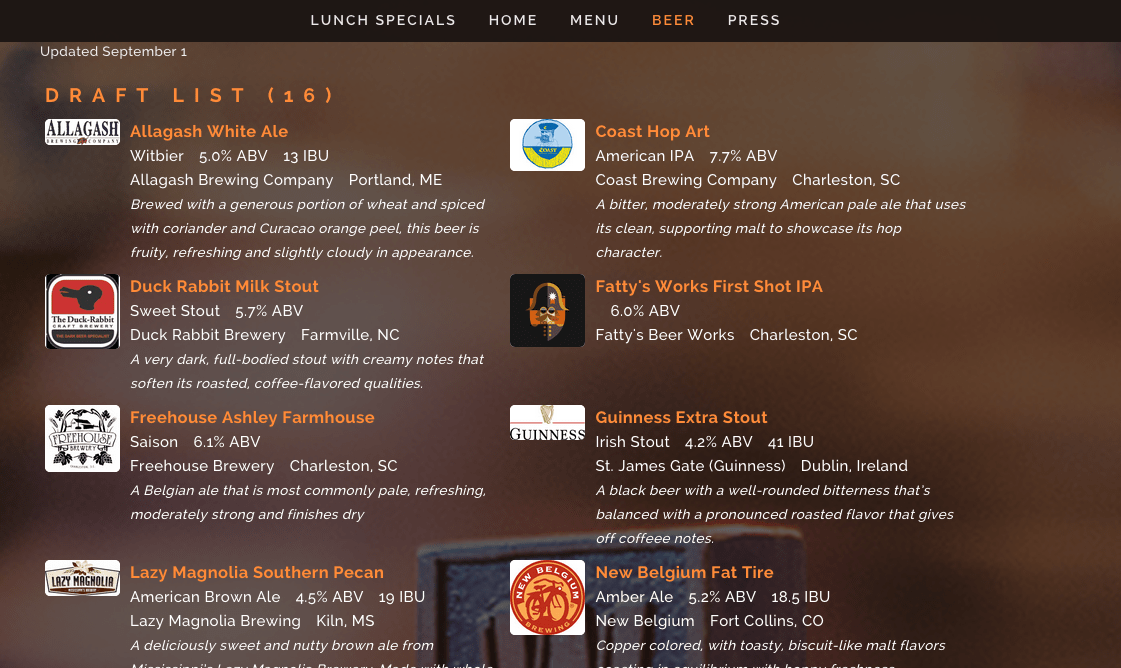 website menu TapHunter