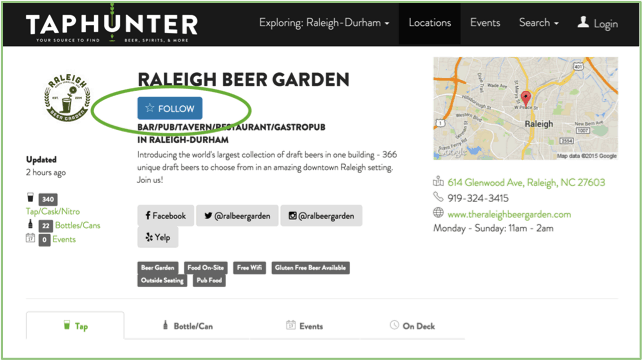 raleigh beer garden taphunter