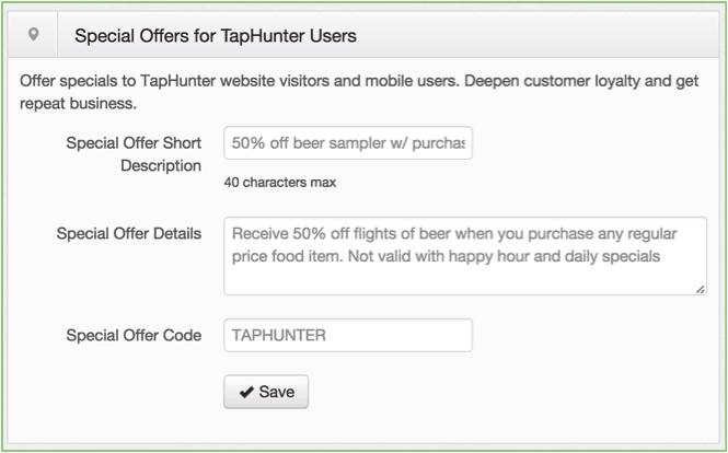 special offer taphunter