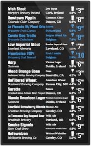 digital beer board with glassware