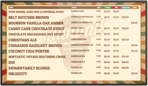 Kilowatt Brewing Digital Beer Board