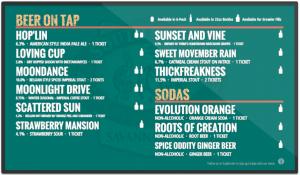 Southbound Brewing digital drink menu