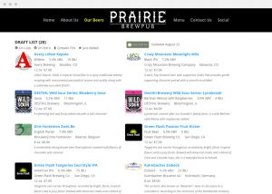 Prairie Pub Beer List Online