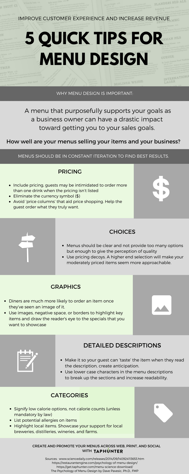 Infographic featuring lots of menu design tips for blog post