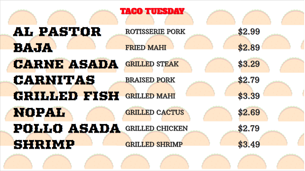 Taco Tuesday Digital Menu Board Example